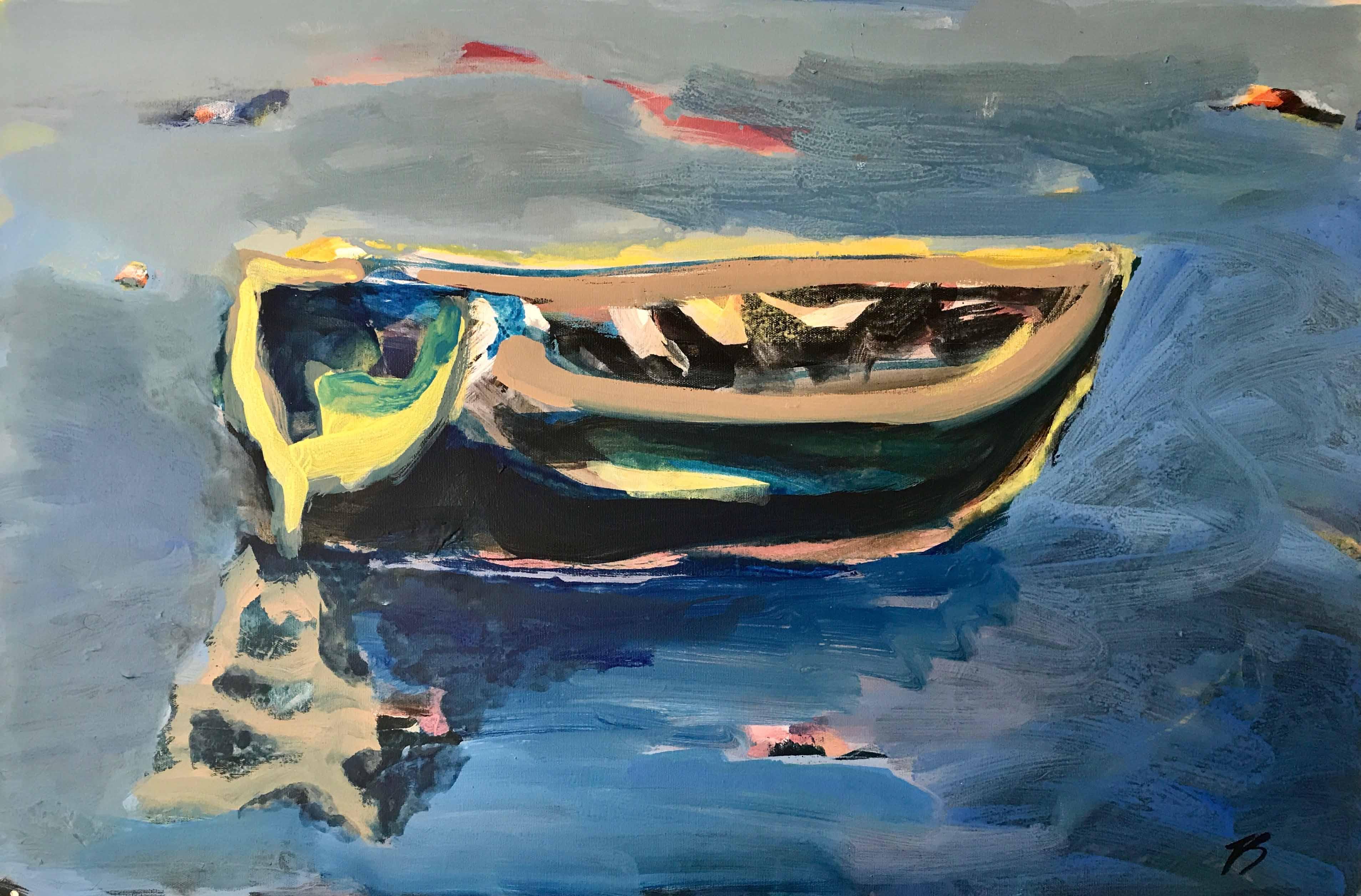 Barque silencieuse, 60x90cm, Acrylique sur toile, 2017