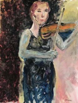 La violoniste, 116x89cm, Acrylique sur toile, 2018 sm