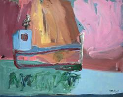 bateau en rose, 100x80cm, Acrylique sur toile, 2018 sm