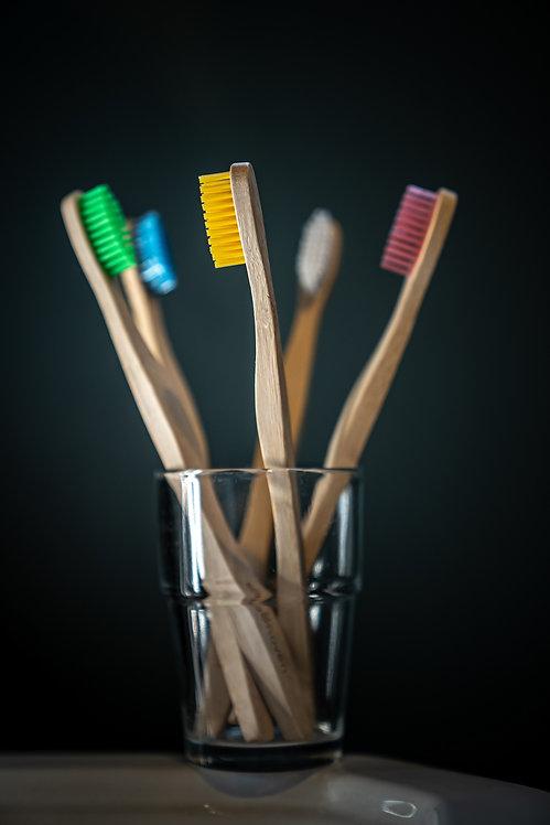 Bamboo Toothbrushes Eco-friendly Sustainable Organic Vegan Medium bristles Biodegradable Family pack