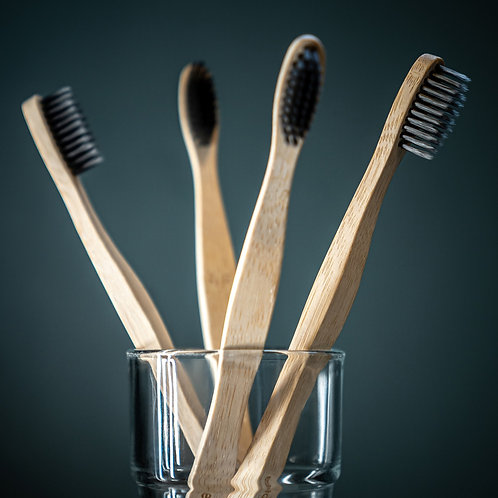 Charcoal Bamboo Toothbrushes-Pack of 4