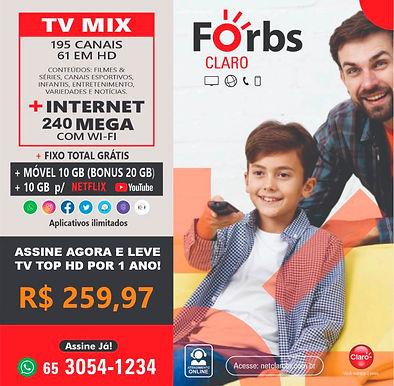240 Mega + Mix HD + Móvel 10GB + Fixo Ilimitado