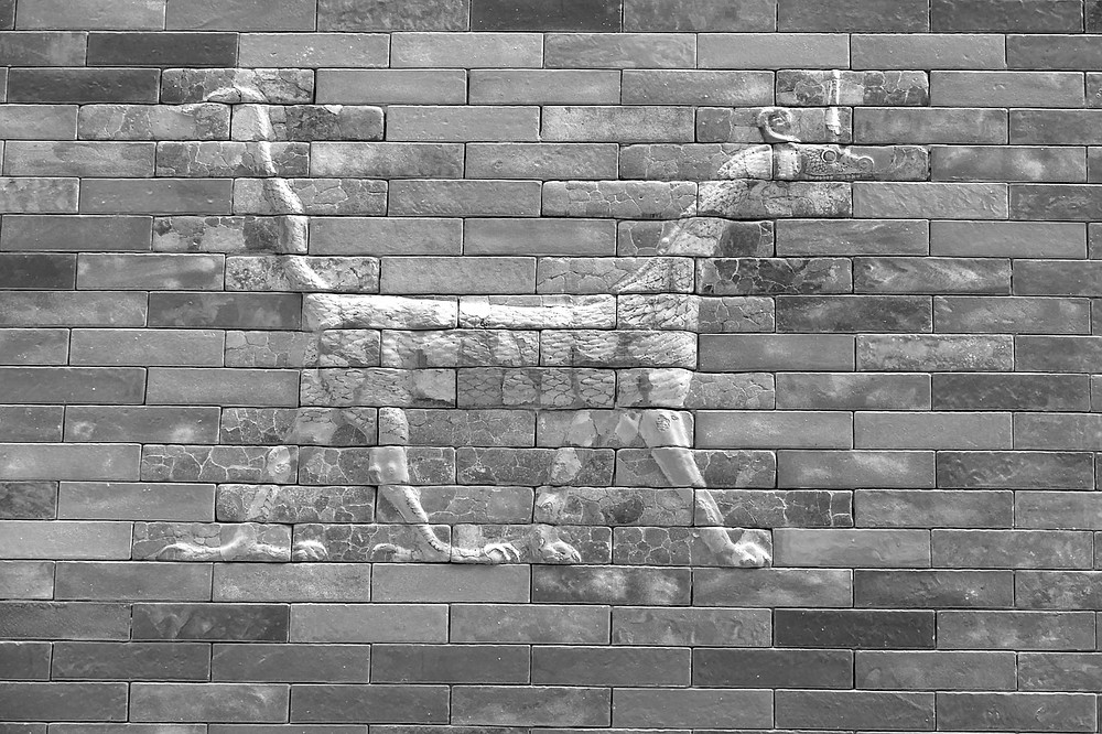 Antikes babylonisches Relief aus dem Pergamon-Museum in Berlin