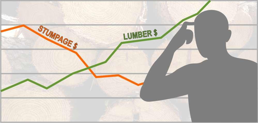 Stumpage values vs lumber values