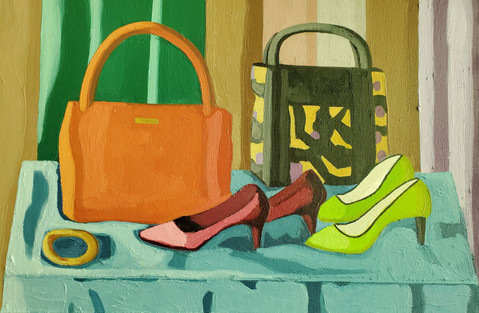 Two Pocketbooks with Two Pairs of Shoes