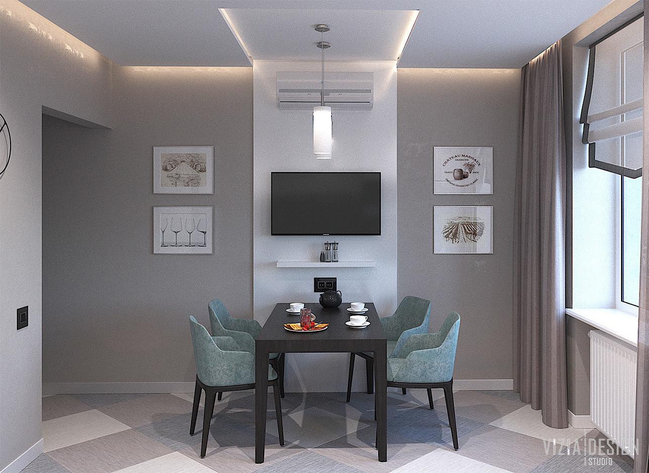 Кухня с телевизором на стене.jpg