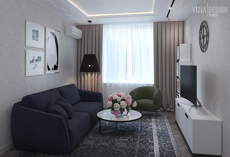 Гостиная и гостевая комната в одном поме