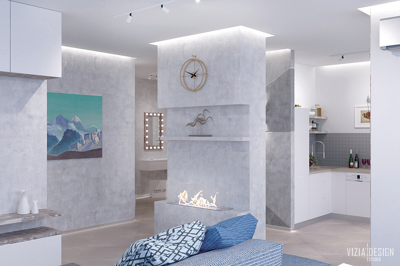 Простір вітальні з кухнею