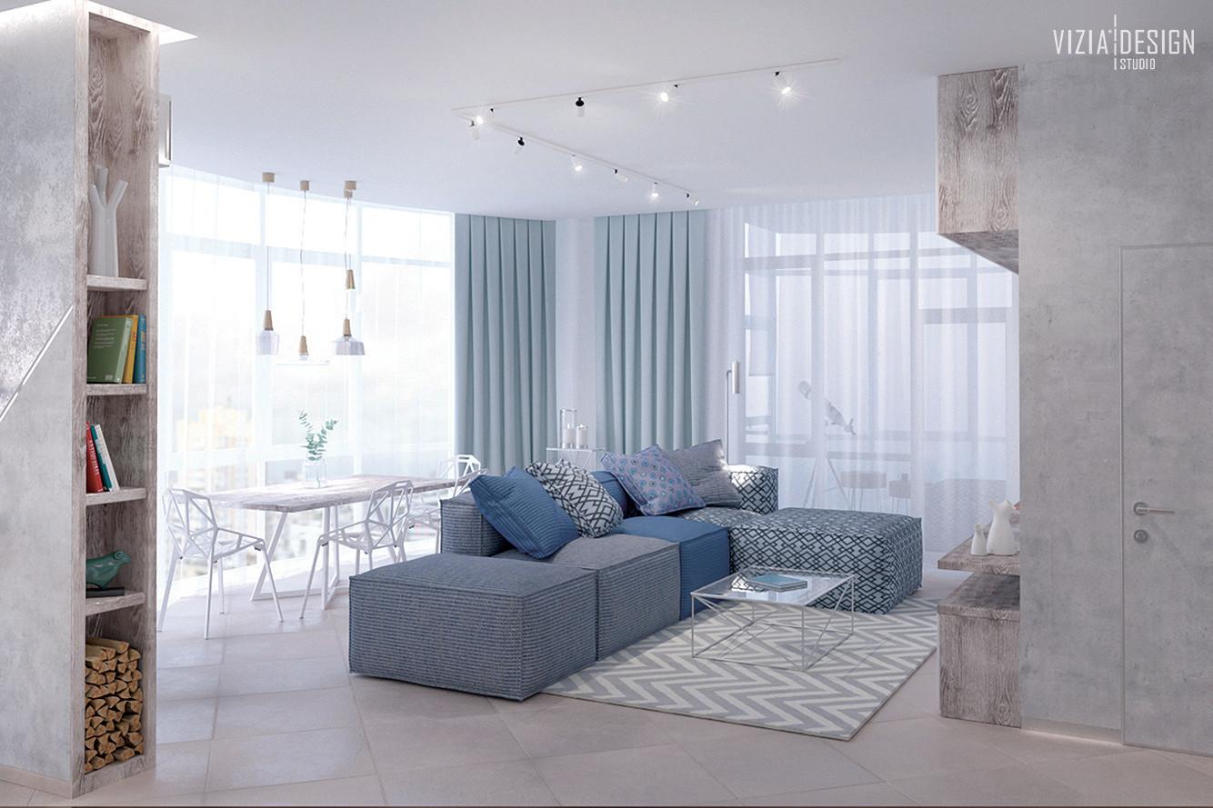Панорамні вікна в інтер'єрі вітальні