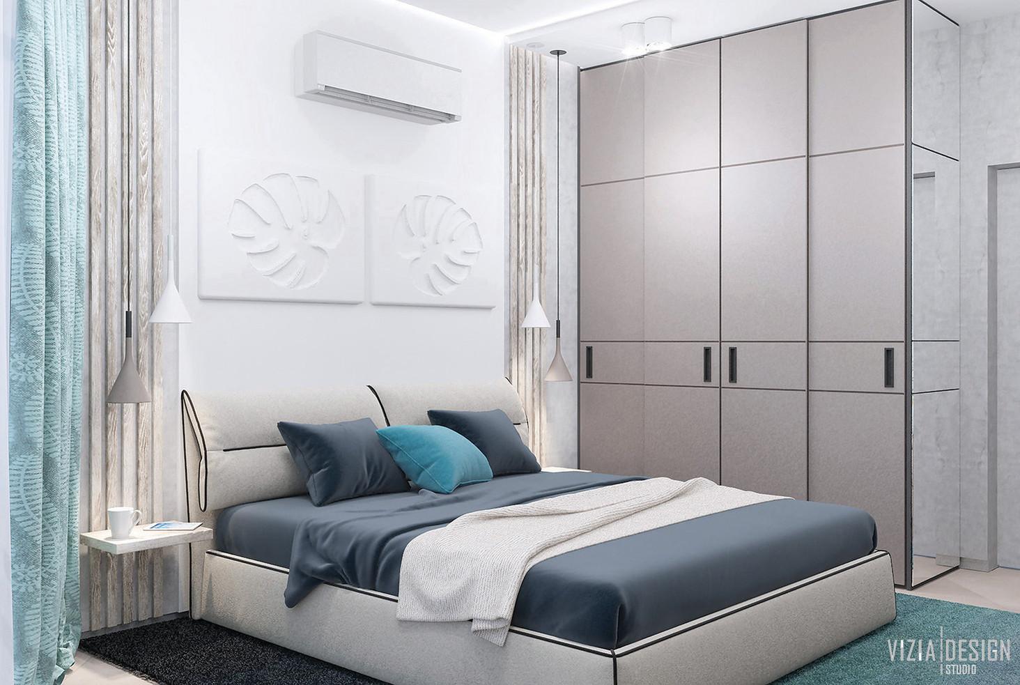 Спальня з панорамним вікном та бетонними стінами