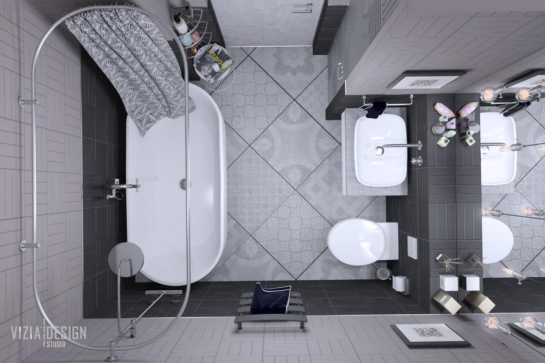 Ванна кімната з окремостоячою ванною та душем