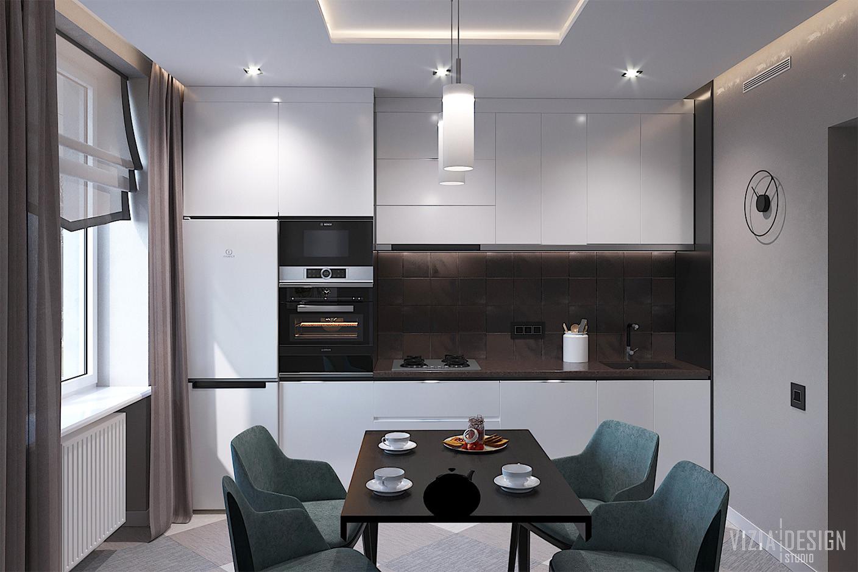 Белая кухня с черными элементами.jpg