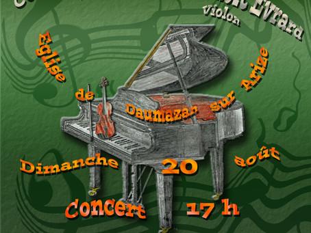 CONCERT PIANO ET VIOLON LE 20 AOUT