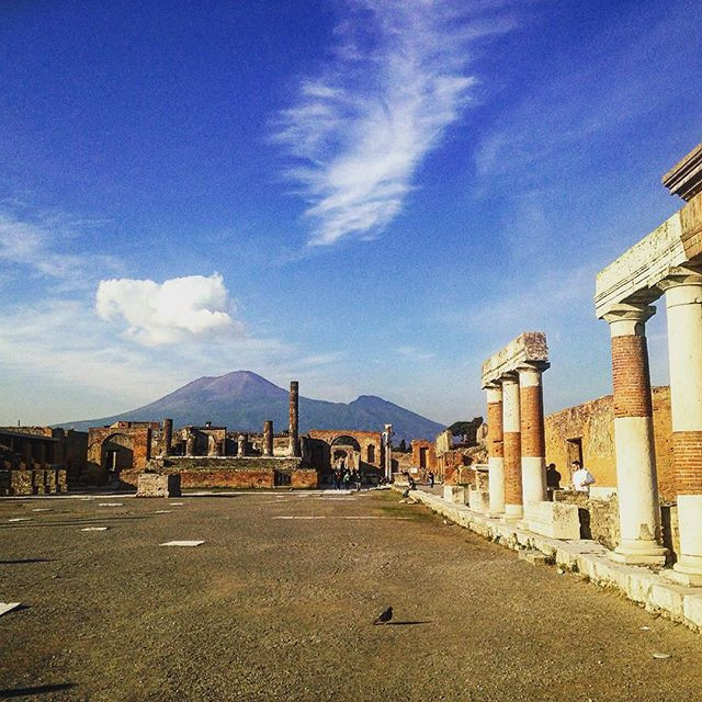 Visiting the city of Pompeii in Italy.