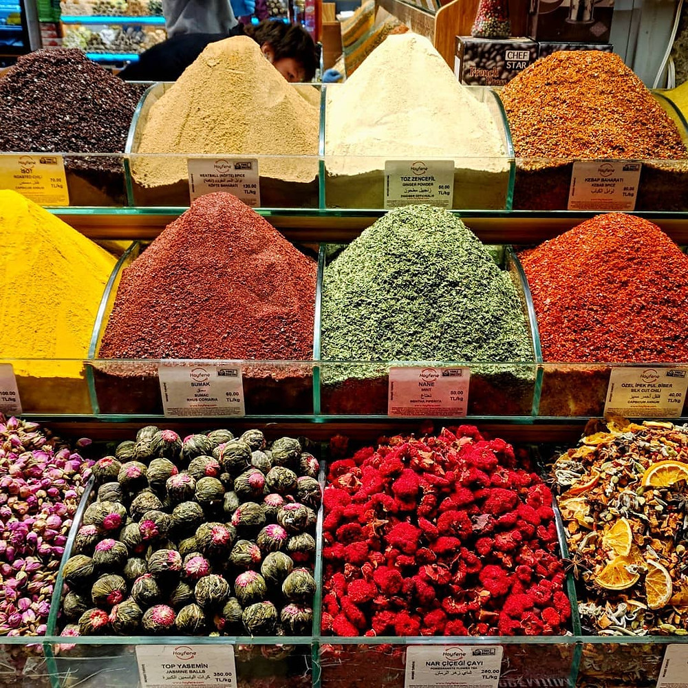 Spices and teas at the spice bazaar in Istanbul, Turkey.