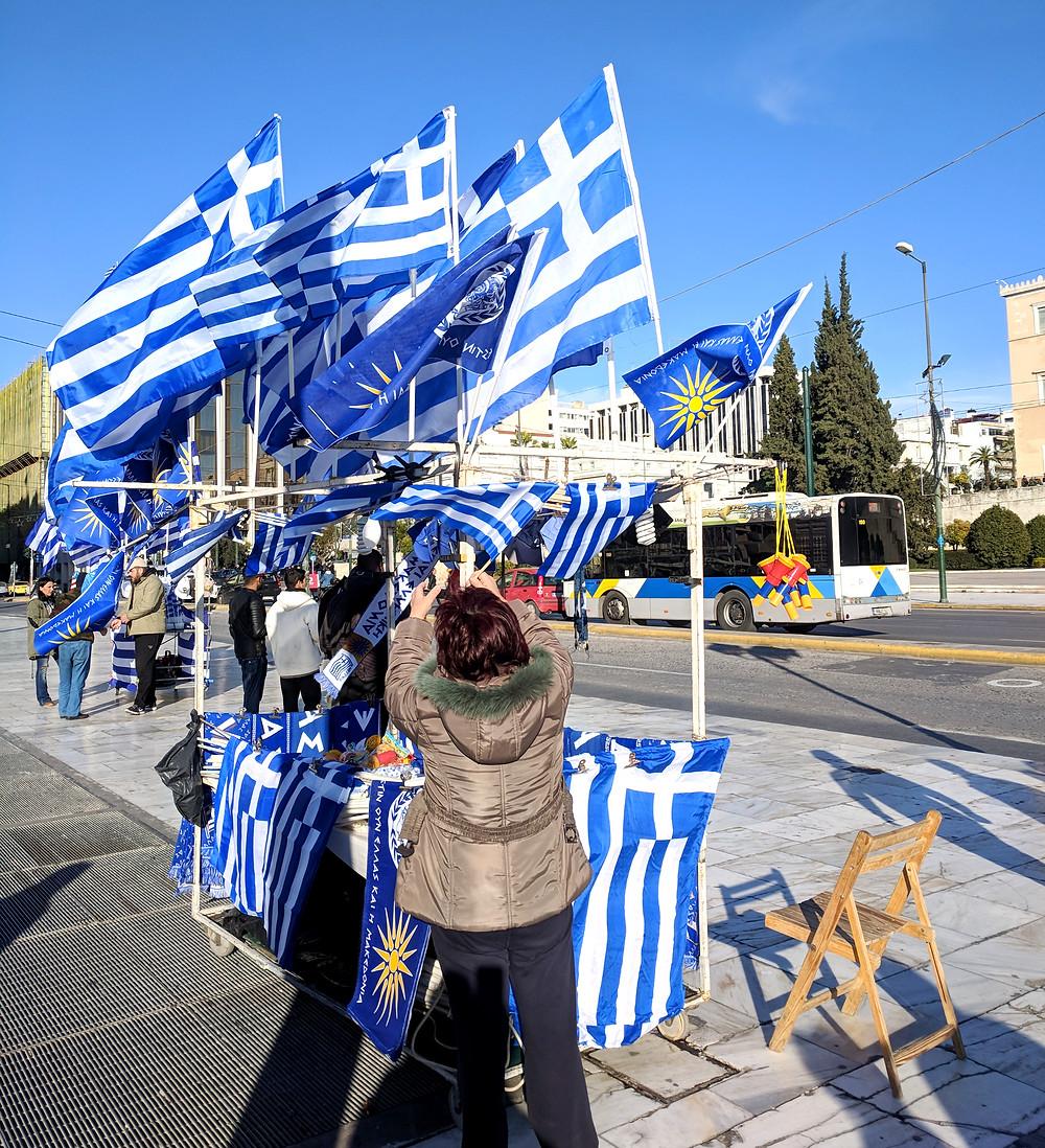 Street Vendor, Greek Flag