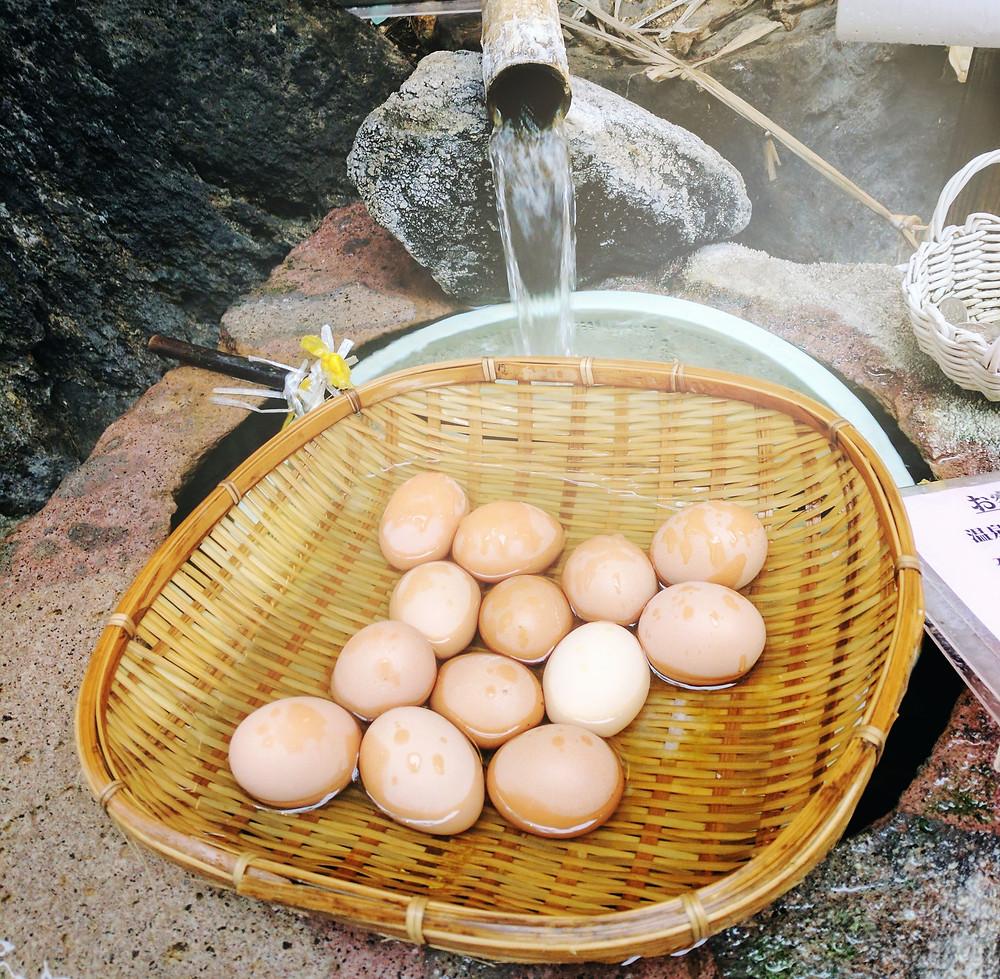 Eggs boiled in Onsen Water, Japan.