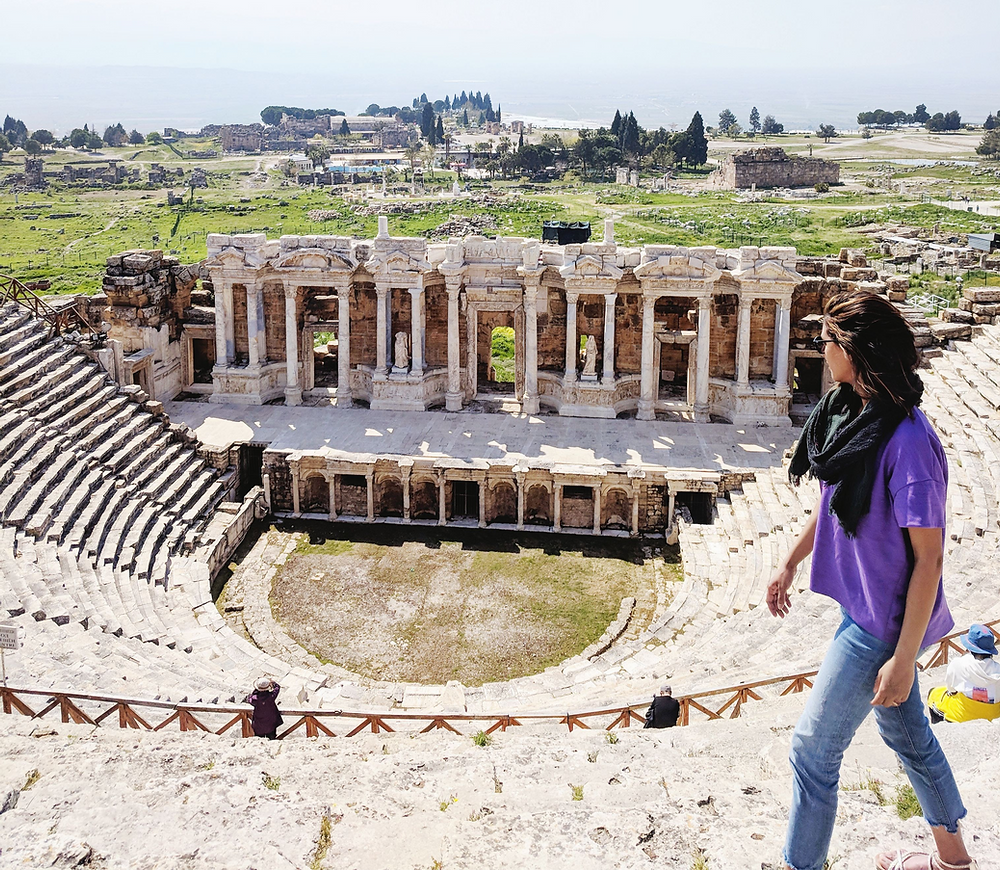 Well preserved Roman theater in the city of Hierapolis, Pamukkale, Turkey.