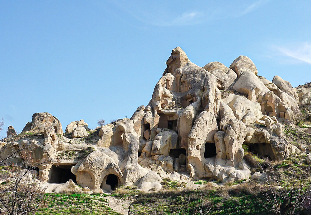 Exploring multiple layers of caves in Cappadocia. Travel Photography.