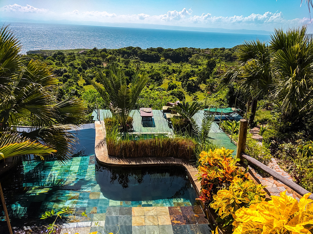 Pool, Jacuzzi and bird-eye view from Airbnb is Dominican Republic