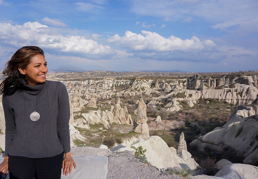 Lanscape full of history in Cappadocia, Turkey. Traveling to another world with an underground city.