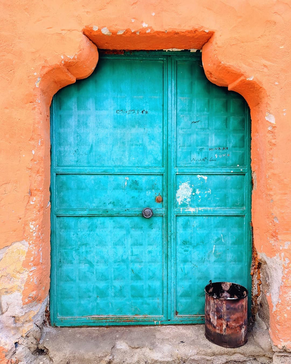 Colorful door in the village/town of Guzelyurt, Turkey. Day trips from Cappadocia.