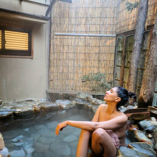 Bathing in a Japanese onsen