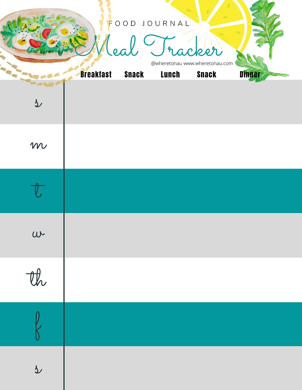 Meal tracker weekly log to eat well and create good habits.