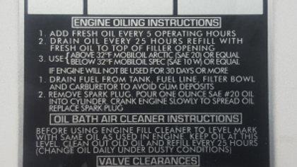 ~ Serial tag - Briggs & Stratton Engine - BSST1880
