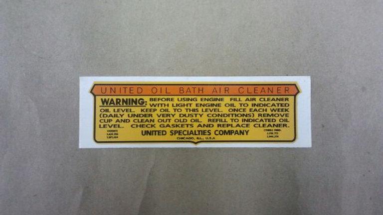 United oil bath air cleaner decal