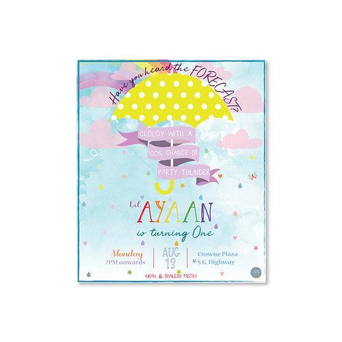 Monsoon Theme Invite-Kid's Birthday Party