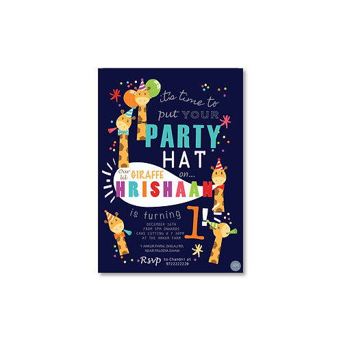 Lil Giraffe - Kid's Birthday Invite