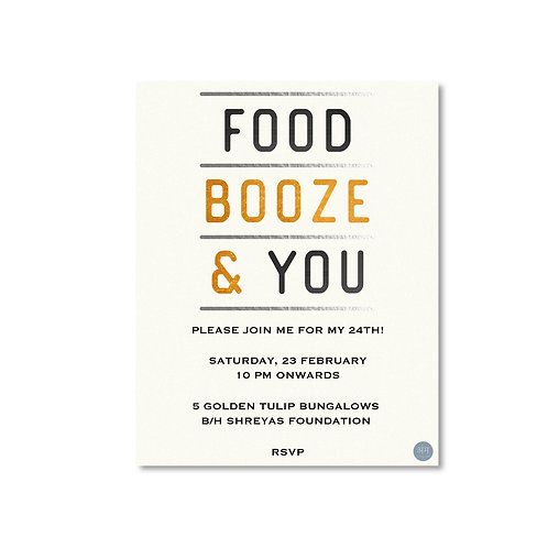 Food, Booze & You - Party Invite