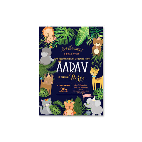 Safari Night - Kid's Birthday Invite