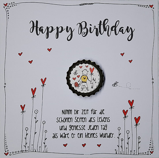 Karte Happy Birthday mit Magnet H3 Herbert