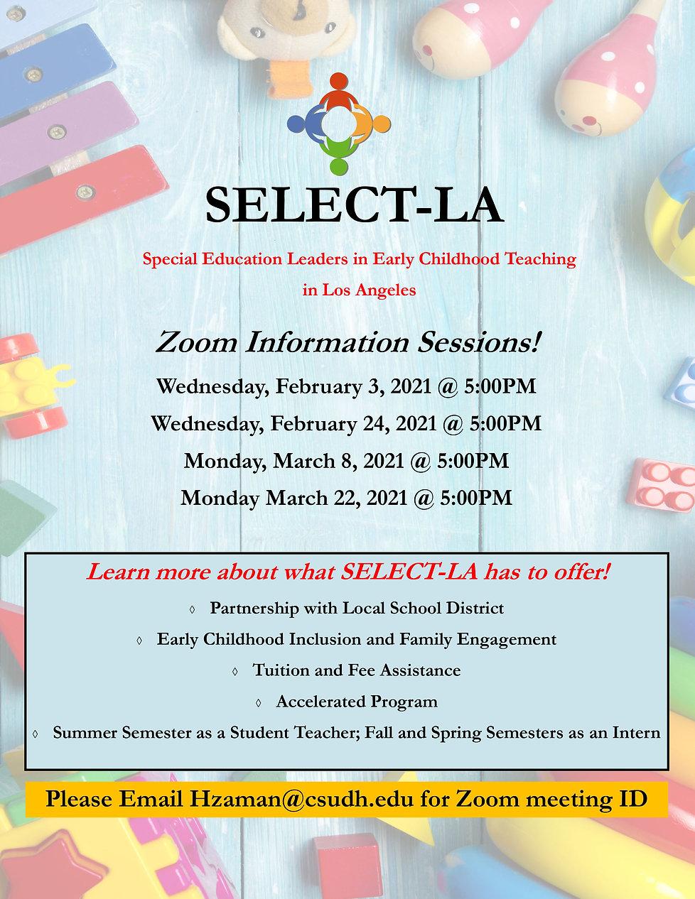 SELECT-LA Zoom Information Sessions (FEB