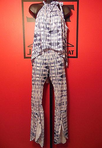 Queen Bee Pants Suit - White Tie-Dye