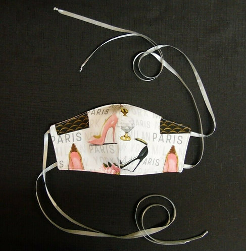 100% COTTON USA ADULT Designer Custom Fashion Face Mask Shoes/Paris Reversible