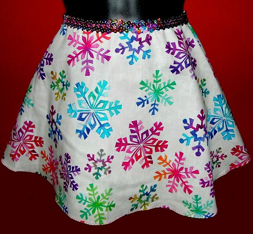 Sequin Snowflake Flirt Skirt Multi-Color Sz M w Scrunchie