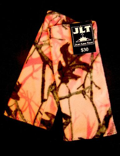 """Pink Fleece Camouflage Leg Warmers 13"""" Long"""