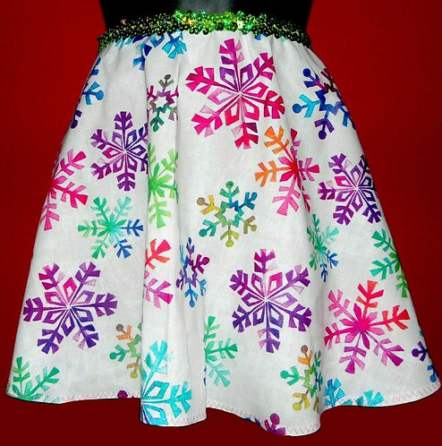 Lime Green Sequin Snowflake Flirt Skirt Sz L w Scrunchie