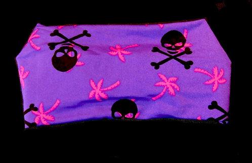 Pink Palm Trees Black Skulls Purple Headband
