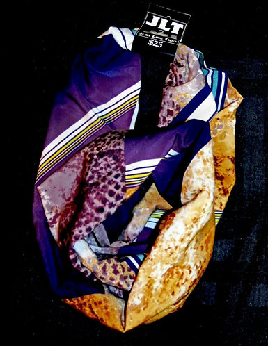 "Chiffon Blend Purple Brown Stripe Wild Infinity Scarf 56"""