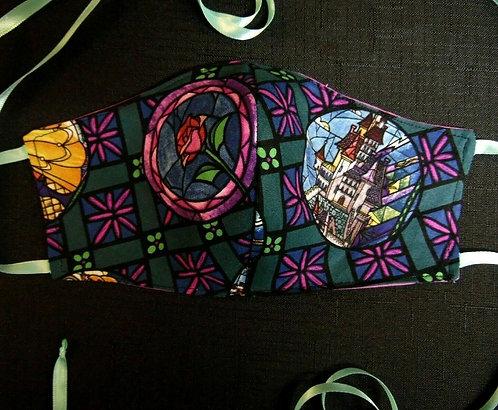 100% COTTON USA ADULT Designer Custom Fashion Face Mask Reversible Glass Rose