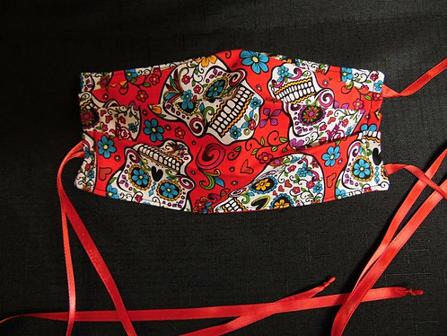 100% COTTON USA ADULT Designer Custom Fashion Face Mask Red Skull Reversible