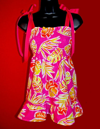 Hot Pink Tropical Baby Doll Top Adjustable Tying Bows M