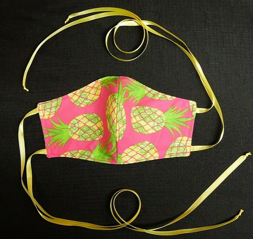 100% COTTON USA ADULT Designer Fashion Face Mask Face Cover Reversible Pineapple