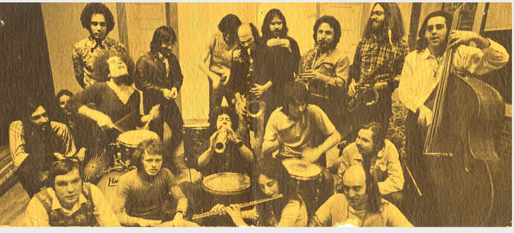 Free Life Communication,Top Row: Bob Mason, Richie Beirach,Carl Schroeder, David Liebman, Randy Brecker, Mike Rod, Gary Campbell, Frank Tusa. Middle Row: Mike Brecker, Unknown, Bobby Moses, Mike Moss, Harry Wilkinson, Cameron Brown. Front Row : Michael Moore, Jimmy Madison, Nancy Janisson, Armen Halburian