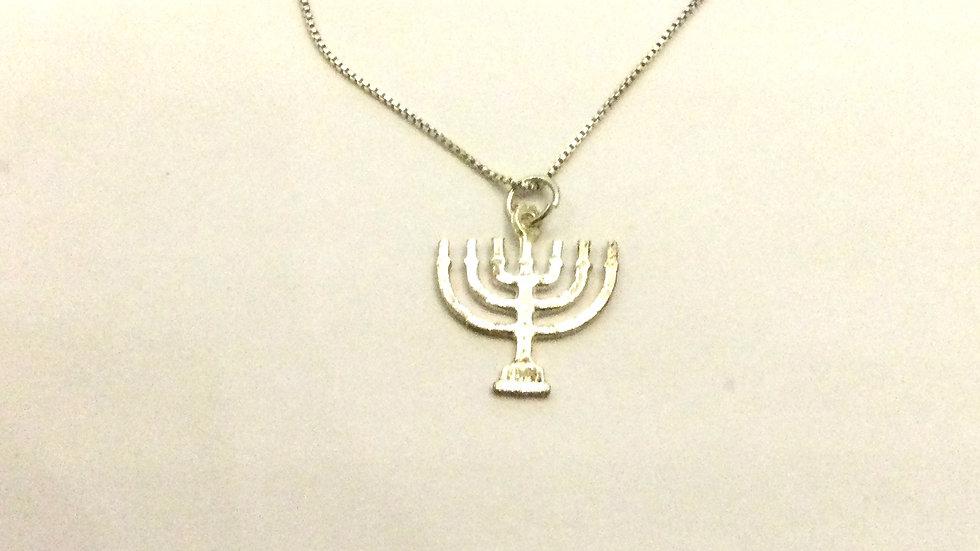 Ægte sølv menorah halskæde