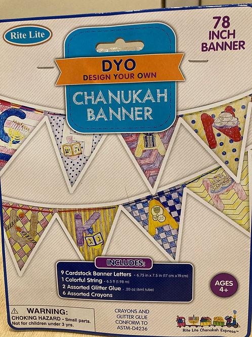 Lave din egen Chanukah banner fra 4 år indeholder banner, farver og glimmer